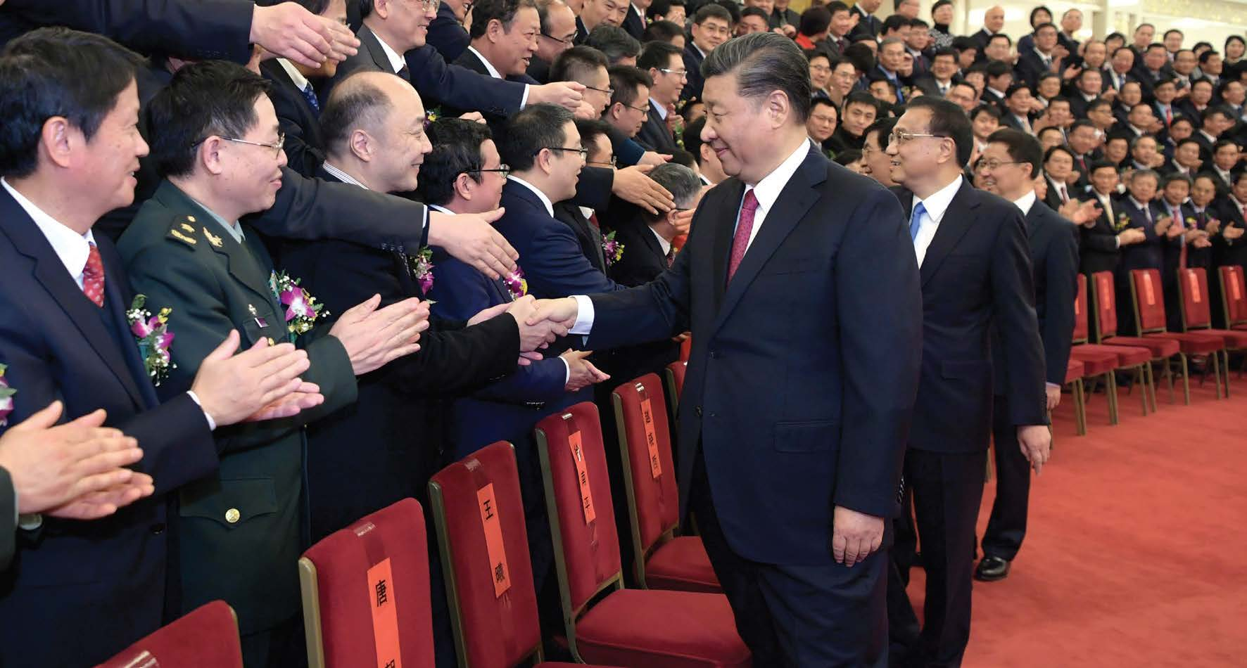 Chinese President Xi Jinping meet with representatives of the award winners before an annual ceremony to honor distinguished scientists, engineers and research achievements at the Great Hall of the People in Beijing, capital of China, Jan. 10, 2020. (Li Xueren/Xinhua)